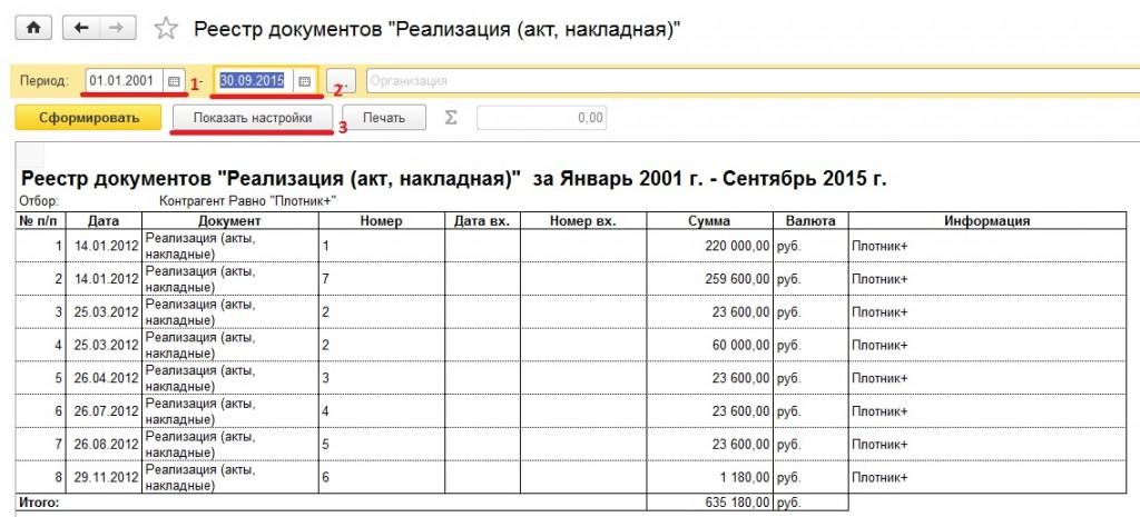 Реестр документов в 1с 8 2 реализация товаров