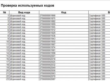 Штрих коды сертификатов 1С